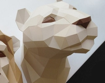 Papercraft Lioness trophy, 3D Paper, low poly sculpture template(PDF),DIY Low Poly Lioness Trophy Head, Papercraft 3d