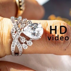 14K Gold Wedding Ring Promise Ring Art Deco Ring 3.57ct Pear Cut Forever Moissanite Engagement Ring with 0.42ct Natural Diamonds on Side