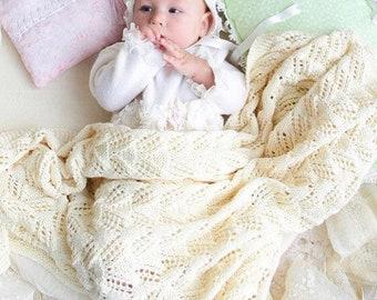 70fa0c2b58bd Ivory knit baby blanket