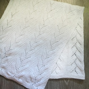 IN STOCK -Heirloom Lace Modern Baby Blanket Off White Baby Gift Hand Knit