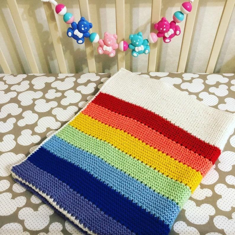 Rainbow baby blanket hand knitted baby blanket merino wool ...