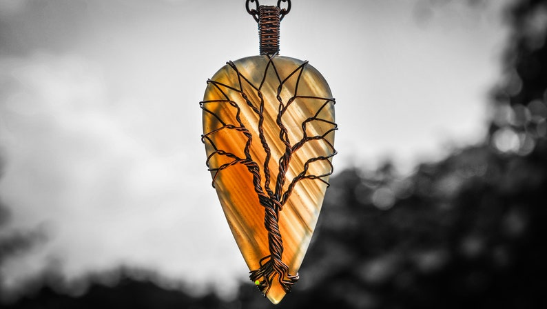 Large Natural Botswana Agate Copper Wire Wrapping Artisan Sacred Geometry Tree of Life Handcraft Twisted Pendant