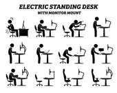 Ergonomic Electric Stand Standing Adjustable Height Desk Table Work Station Monitor Computer Mounting Mount Man PNG SVG EPS Vector Download