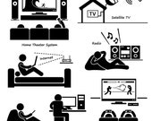 Home House Entertainment Electronic Appliances TV Hifi Satellite Dish Internet Wifi Radio Tablet Computer Video Games Icons PNG SVG Vector