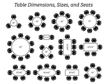 Dining Table Dimensions Design Sizes Seating Arrangement Circle Oval Square Rectangle Top Up View Digital Download Icons PNG SVG Vector