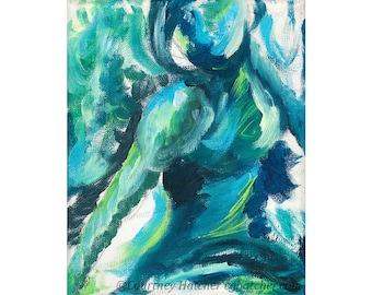 Teal Giclee Print, Turquoise Art Print, Colorful Abstract Wall Art, Gesture Art, Modern Home Decor, Expressive Figure Art, Courtney Hatcher