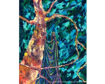 Fine Art Print, Abstract Tree Wall Art, Female Figure Painting, Original Giclee, Colorful Home Decor, Green Abstract Art, Courtney Hatcher