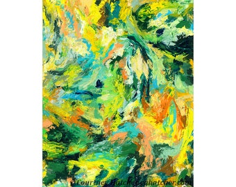 Abstract Expression Art Print, Green Art, Yellow, Emotional Art, Bold Home Decor, Colorful Palette Knife Painting, Giclee, Courtney Hatcher