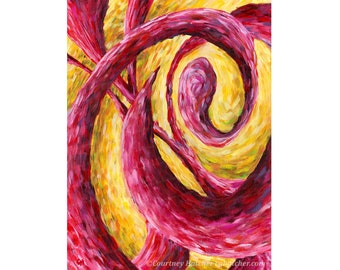 Vibrant Art Print, Giclee, Abstract Color Art, Expressive Landscape, Red, Yellow, Tangle, Colorful Swirls, Abstract Shapes, Courtney Hatcher