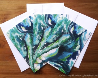 """Colorful Abstract Art Notecards, 5""""x7"""" Greeting Cards, 3 Large Notecards, Teal Notecards, Expressive Art, Abstract Gesture, Courtney Hatcher"""
