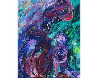 Emotional Art Print, Fine Art Print, Modern Abstract Wall Art, Portrait Painting, Colorful Giclee Print, Purple Home Decor, Courtney Hatcher
