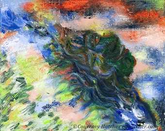 Abstract Color Print, Emotional Expressionism, Modern Giclee Art, Bold Portrait Art, Emerge, Abstract Landscape Wall Art, Courtney Hatcher