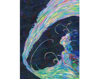 Emotional Art Print, Giclee, Becoming, Vivid, Colorful Abstract Wall Art, Blue Art, Abstract Figure, Elegant Home Decor, Courtney Hatcher