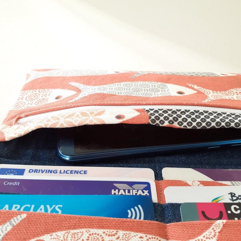 fish print Women/'s fabric wallet orange purse phone purse wallet with zipper pocket