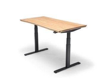 Oakdesk - Electric Adjustable Wooden Standing Desk With Premium Oak Tabletop Living Edge (UK & EU)