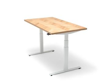 Oakdesk - Electric Adjustable Wooden Standing Desk With Premium Oak Tabletop Herringbone (UK & EU)