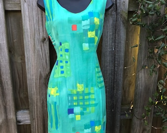 2ba62efc8a Vintage 1990 s Jams World abstract Artsy shapes tropical dress large