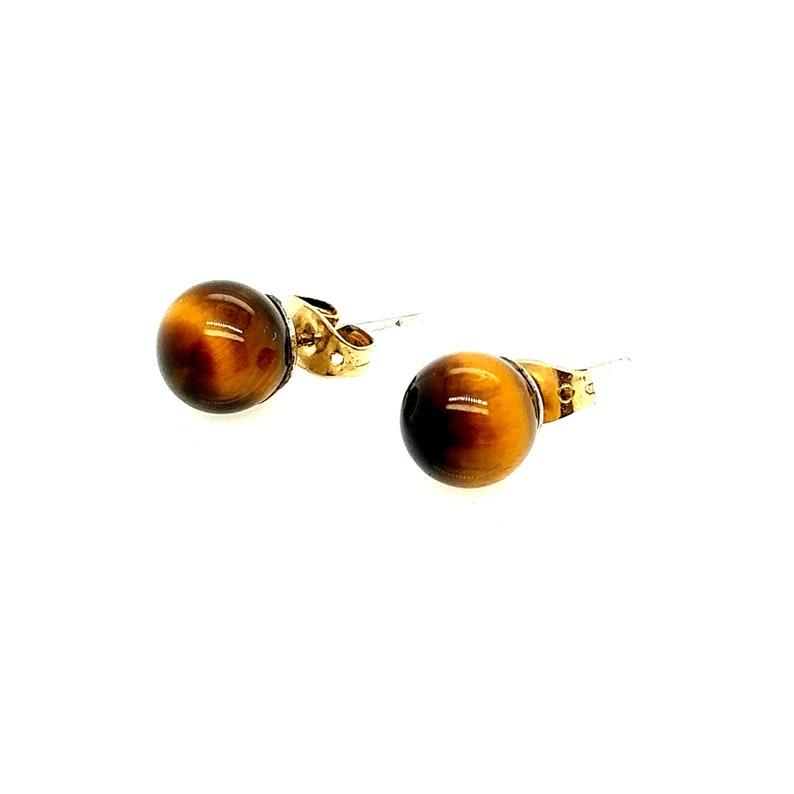 Vintage Tigers Eye Gemstone 8mm Ball Post Stud Earrings