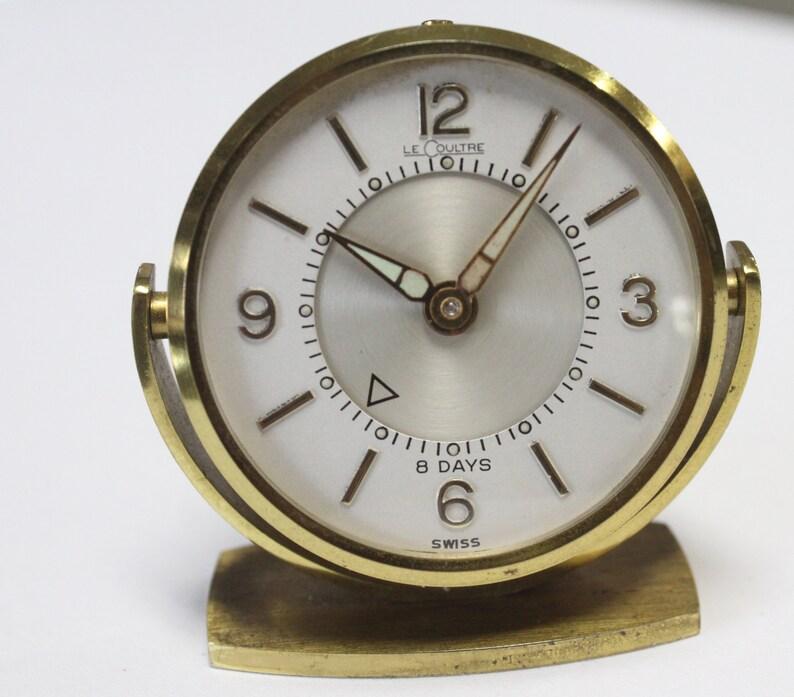 Antique Art Déco Jaeger LeCoultre 8 jours Memovox Réveil horloge suisse fait 61