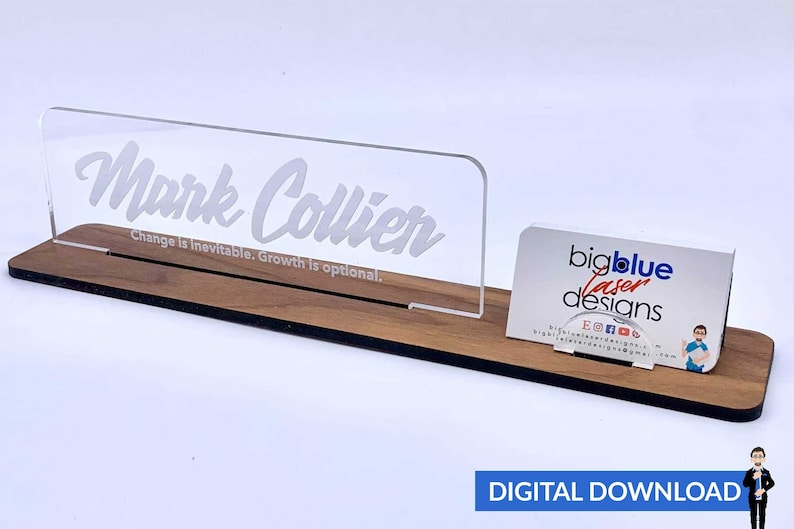 Desk Name Plate PDfSVG Laser Cut Files  INSTANT DOWNLOAD image 0