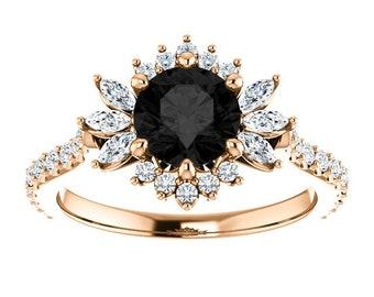 Anneau Boîte 10K Gold .50 Ct Naturelle Aigue-marine /& Bague Diamant Taille 6.75