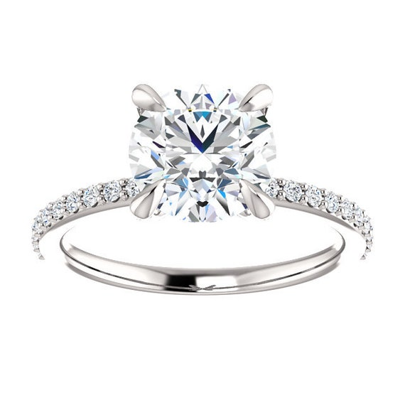 2 Carat Engagement Ring 14k White Gold 8mm Round White Topaz Etsy