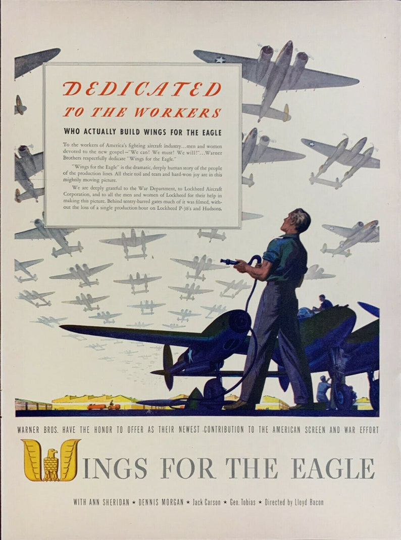 Vintage 1942 Warner Bros Wings For The Eagle Movie Print Ad Advertisement