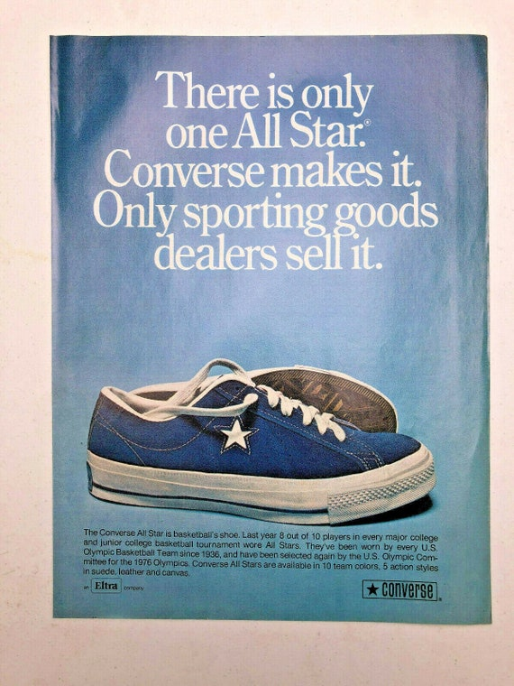 Vintage 1974 Blue Converse All Stars Sneakers Shoes Print Ad Art