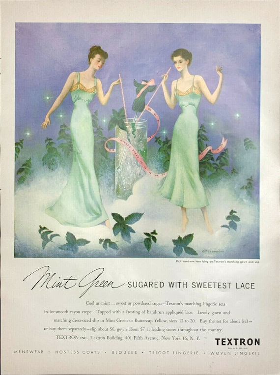 Vintage 1949 Vogue Textron Mint Green Laced Nighty