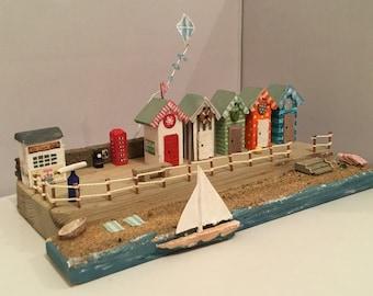 BEACH HUTS and PROMENADE 'Driftwood style' Craft  Kit, Ice Cream Shop, Beach & Kite, miniature coastal scene, includes all materials.