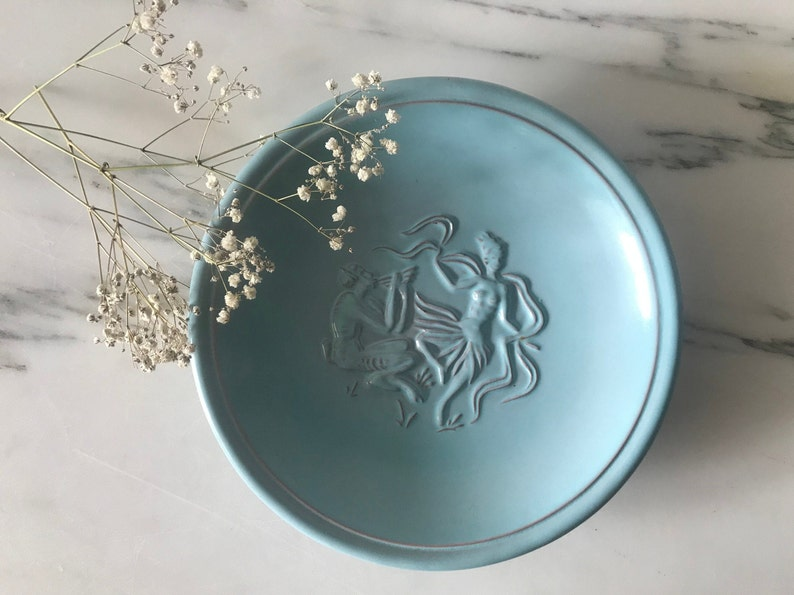 FAIRY TALE ceramic plate with mythical creatures  By Michael Andersen /& Son  Art deco ceramic  Blue ceramic  Danish Design