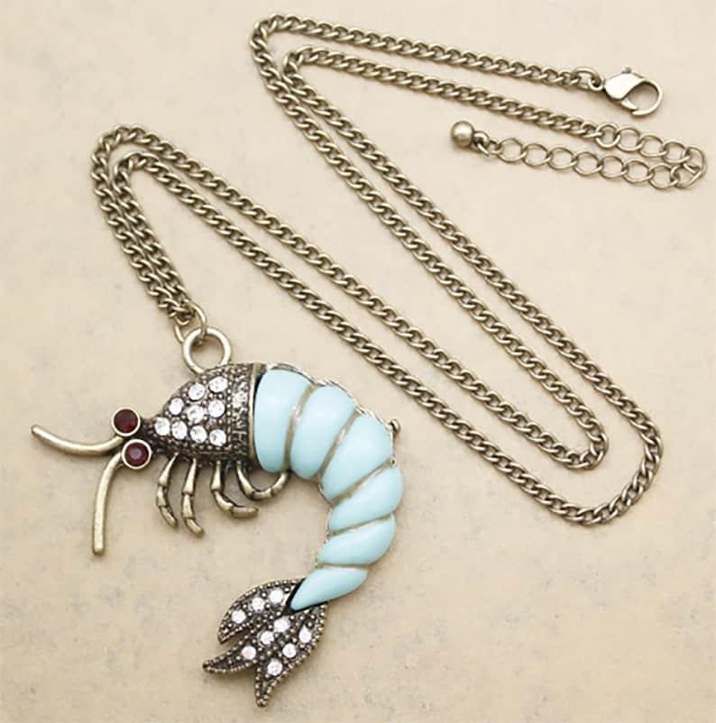 Vintage Art Deco Style Lobster Shrimp Crayfish Nautical Beach Imitation Stone Rhinestone Crystal Blue Turquoise  Pendant Necklace
