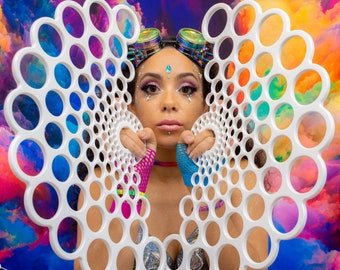 "Bubbles - 1.5"" Tech Grip Custom Flow Fans , Practice Fans, Day fans, Tech Fans, Fan Poi hula for Flow Fests and Burning Man"