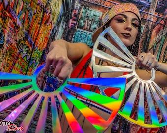 "Asian Sun Hologram  - 3.25"" Russian Grip Custom Flow Fans , Practice Fans, Day fans, Tech Fans, Fan Poi hula for Flow Fests and Burning Man"