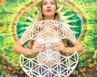 """Flower of Life - 1.5"""" Tech Grip Custom Practice Fans, Day fans, Tech Fans Poi, hula for Flow Fests and Burning Man"""