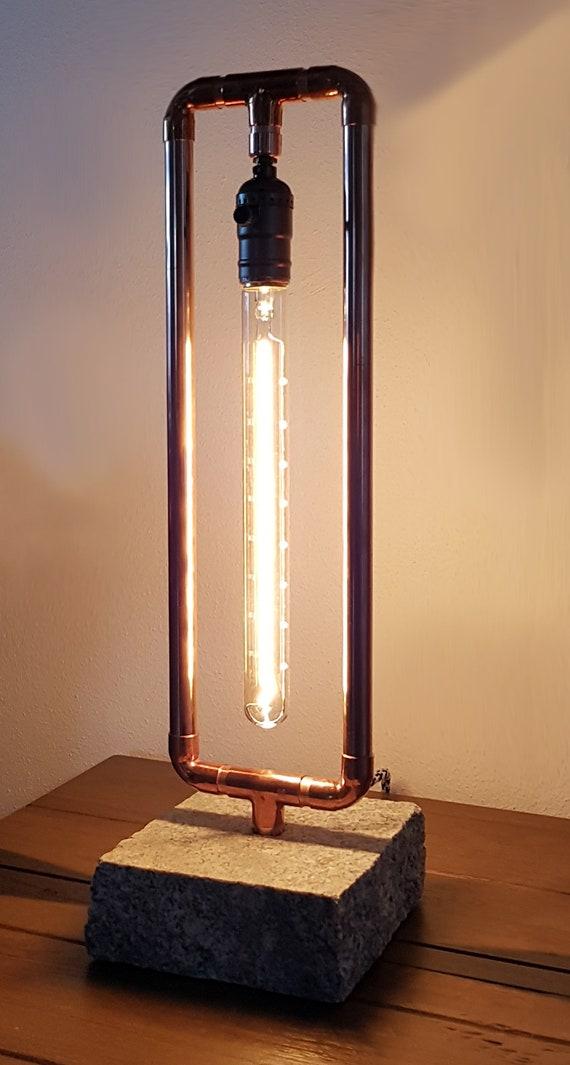 Kupferrohr Lampe Mit Granitsockel Edison Birne Steampunk Vintage Tischlampe Nachttischlampe Schreibtischlampe Nachtlicht