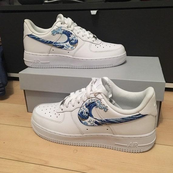 Custom Nike Air Force 1 great wave of Kanagawa Hokusai in