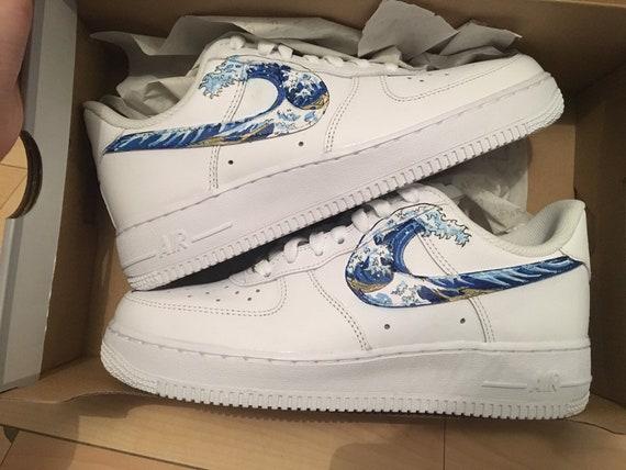 Custom Nike Air Force 1 Grande vague de kanagawa Hokusai