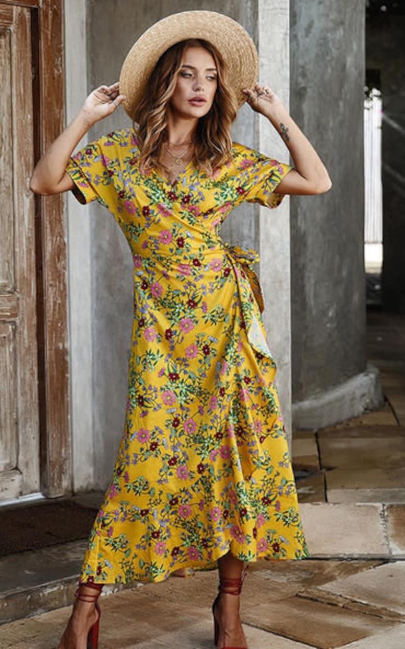 Boho Wrap Dress In Yellow Floral Print