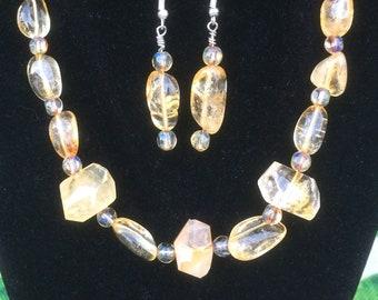 Gift Sparkley Bracelet with Amber color Citrine Stones 7  15.4 grams
