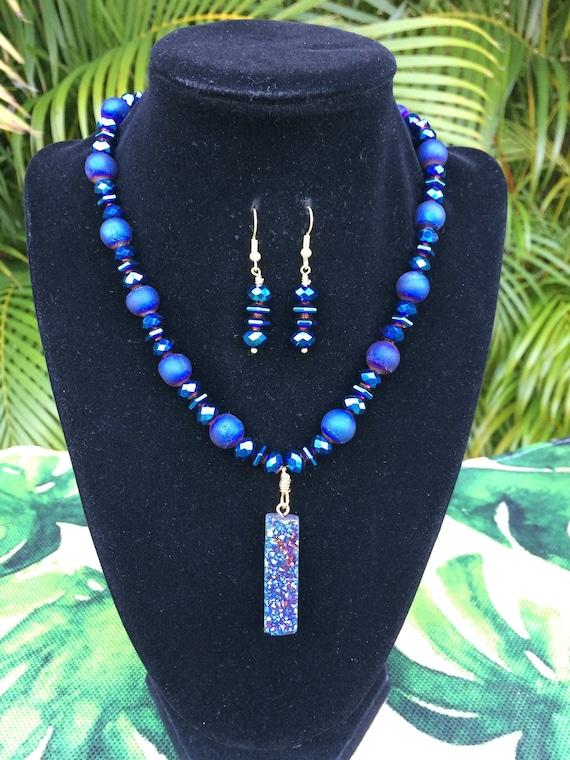 Black Agate Heart Dragon Vein Agate Crackled Agate Necklace with Earrings Crackled Agate Heart Pendant Heart Necklace Black Necklace