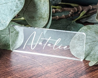 Acrylic Table Place Name, Wedding Table Décor, Personalised Place card, Engraved Acrylic Guest Seating,