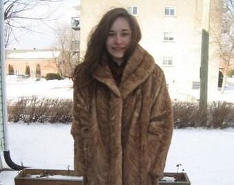 G15 women vintage must have it blond mink real fur coat fit size 6 8  so soft
