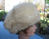 Q5 unisex beanie hat fox fur white beige tip end brown trim black astrakhan fur fits size 21 quot inches by 5 quot inches deep