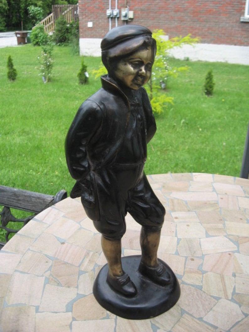 44 men bronze statue figurine boy well dress art metal 14.5 in signed