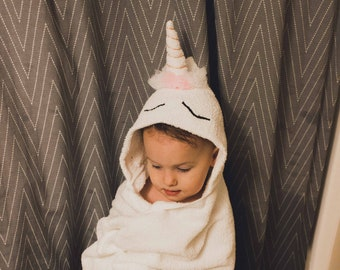 Unicorn Hooded Towel, Unicorn Hooded Bath Towel, Unicorn Baby Towel, Toddler Unicorn Towel, Child Unicorn Hooded Towel