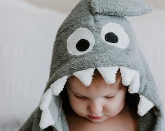 Grey Shark Hooded Towel, Hooded Towel, Animal Hooded Towel