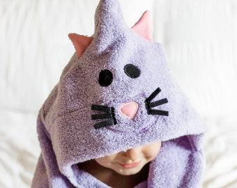 Cat Hooded Towel, Baby Hooded Cat Towel, Toddler Hooded Towel, Child Hooded Towel, Hooded Bath Towel