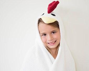 Chicken Hooded Towel, Animal Hooded Towel, Hooded Towel, Child Towel