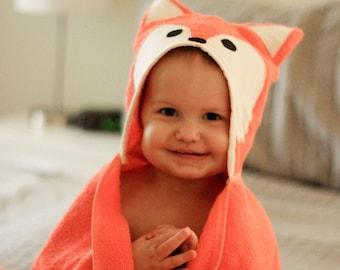 Fox Hooded Towel with Squeaker, Animal Hooded Towel, Hooded Towel